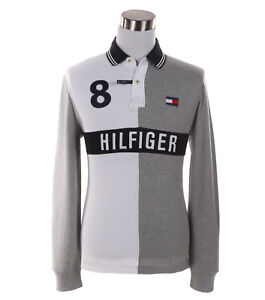 32d345ea Tommy Hilfiger Men's Long Sleeve Logo Custom Fit Rugby Polo Shirt ...