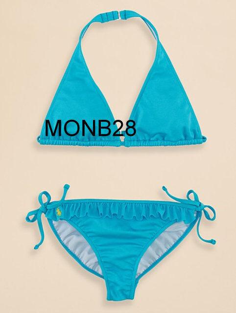 e86e862ee0 Ralph Lauren Polo Girls Size 10 Bikini Kids Medium Two Piece Swimsuit Blue  Shimmer