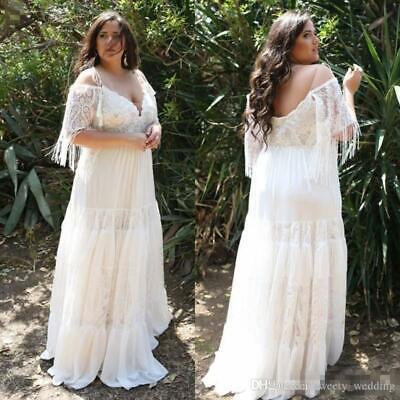 Lace Plus Size Beach Wedding Dress Off Shoulder Bohemian Chiffon Bridal Gown Hot Ebay,Trusted Online Wedding Dress Sites
