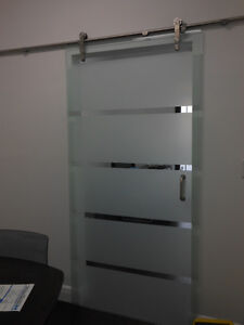 Glass Barn Door With Hardware Polished Tempered Frosted