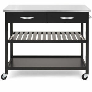 Details about Brown Wood Rolling Kitchen Island Storage Cart Organizer  Stainless Steel Top New
