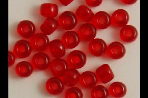 50g Verre Seed Perles-Rouge Transparent-env 3mm Taille 8//0
