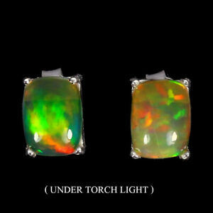 Unheated-Oval-Fire-Opal-Rainbow-Full-Flash-8x6mm-925-Sterling-Silver-Earrings