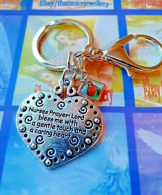"/""Nurse/'s Prayer/"" /& /""Your Guardian Angel/"" Silver Heart Keyring//Purse//Bag Charm"