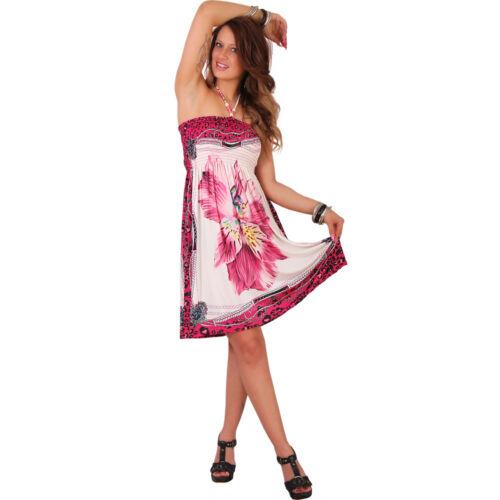 D/'été bandeau bois-perles fleurs plage robe tuchkleid Chiffon Print femmes f030