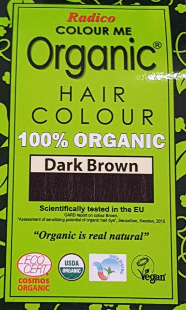 3 X 100g RADICO Colour Me 100 Organic Hair Color - Dark Brown | eBay
