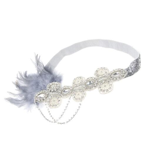 Flapper 1920s Feather Rhinestone Headband Head Piece Great  Charleston