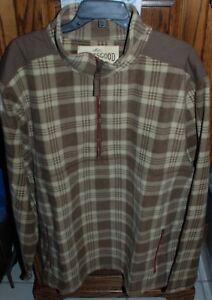 2XL-NWT-82-Men-039-s-Life-Is-Good-Brown-Plaid-Peak-Pullover-1-2-Zip-Jacket-Fleece