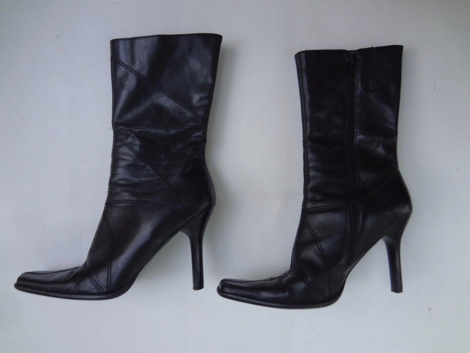 Femme Taille 8 1 2, talon cubain, Hauteur Mi-Mollet noir, bottes en cuir par Diba