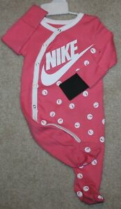 Baby Girls Nike Summer Outfit New Romper; Swoosh; Pink//White - Size 3 mo