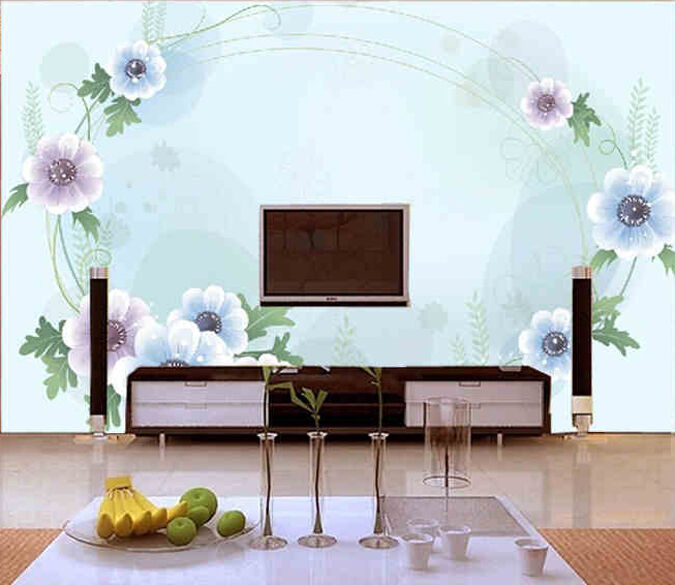 3D Pale Blau Surround Flower Wall Paper Wall Print Decal Wall Deco AJ WALLPAPER