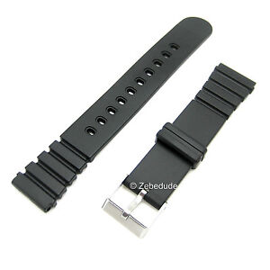 18mm-20mm-Fitting-Black-Divers-Rubber-Plastic-Resin-Casio-Type-Watch-Strap-Band