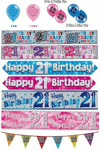Image Is Loading 21st Birthday Boy Girl Pink Blue Party Banners