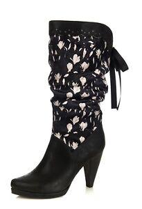 Ruby-Shoo-NEW-Athena-black-white-floral-velvet-high-heel-slouch-calf-boots-sz3-8