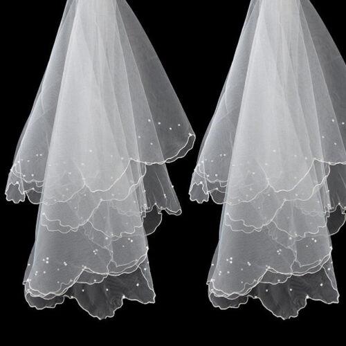 Romantic White Pearl Veil Bridal Elbow Short Satin One-Layer Veil Wedding Party#