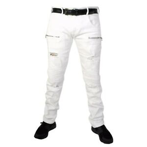 ccbad827021 Mens white jeans star straight, slim fit Peviani rips , hip hop g ...