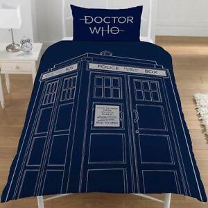 Doctor-who-Classique-Tardis-Set-Housse-de-Couette-Simple-Reversible-Literie-Dr