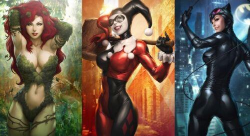 Harley Quinn Catwoman Poison Ivy Comics Hot Girl Poster Art Fabric Decor 153