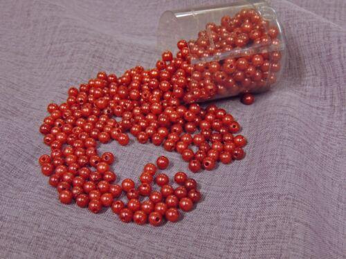 500 pièces perles 6mm avec trou couleur bordeaux