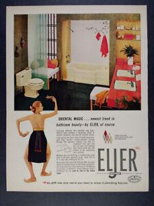 1957 Eljer Plumbing Fixtures Nude Lady Ad (Bathroom