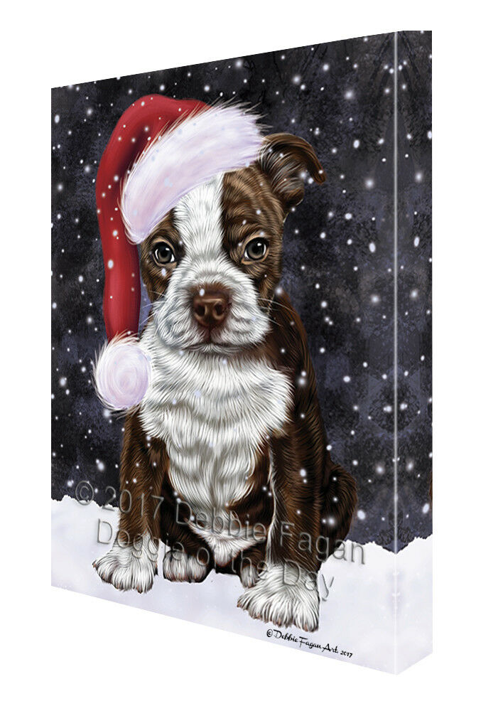 Let it Snow Christmas Holiday Boston Terriers Dog Santa Hat Canvas Wall Art