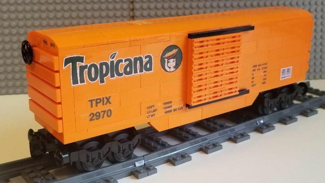 Lego Train Boxcar Tropicana 02 PLEASE READ ITEM DESCRIPTION