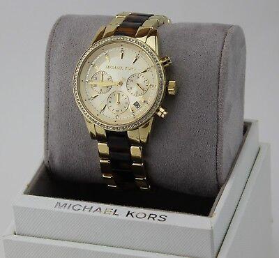 NEW AUTHENTIC MICHAEL KORS RITZ TORTOISE GOLD CHRONOGRAPH WOMEN'S MK6322 WATCH   eBay