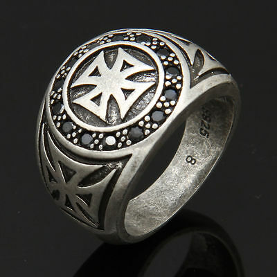 Men's Vintage Silver Plated Cross Band Ring Gothic Gift Jewellery HOT SALE