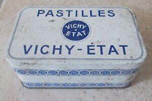 Boite-metal-PASTILLES-VICHY-ETAT-Ancienne-bonbons-digestion-pharmacie