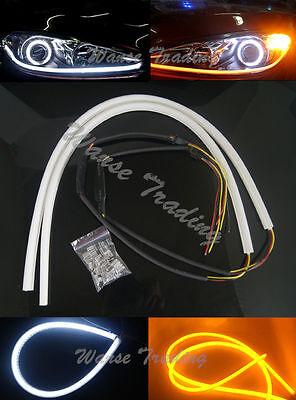 2x 60cm Flexible Headlight LED Tube DRL Daytime Light White-Amber For Audi-Style
