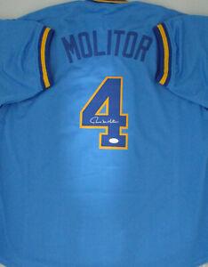 buy popular f10ca 3cf3a Details about Brewers PAUL MOLITOR Signed Custom Replica Blue Jersey AUTO -  HOF '04 - JSA