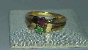 NEU-Damenring-mit-Rubin-und-Smaragd-333er-Gold-Ring-56-17-8-mm