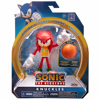 Sonic The Hedgehog 4 Inch Wave 3 Bendable Figure Knuckles With Basketball Ebay