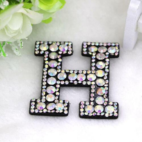 A-Z 1 un Rhinestone Apliques de letra del alfabeto inglés 3D Parche de hierro en letras