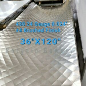 "12/""X96/"" 430 Stainless Steel Sheet Wall Covering #4 Brushed 24 Gauge 0.024/"""