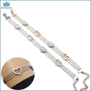 Bracciale da donna multifilo con cuore zirconi braccialetto in acciaio inox per