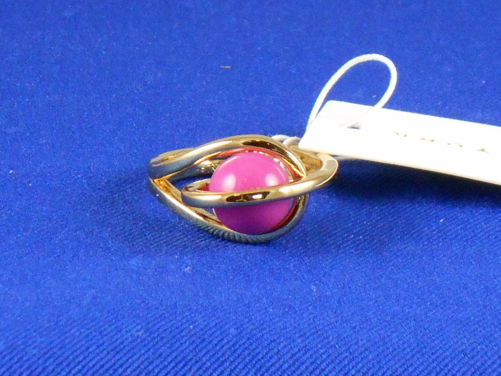 Trina Turk goldtone Dark Purple Pinkish Caged Ball Ring Size 7 TTR00036G500  68