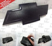 (2) Silverado Carbon Fiber Universal Chevy Bowtie Emblem Wrap Sheet Kit Overlay