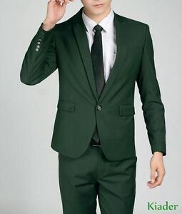 Mens Blazer Dark Green One Button Slim Fit Business Casual Suit