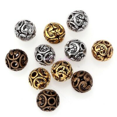 10Pcs Tibetan silver Round Shaped Hollow Spacer Bead Loose DIY Dia.12mm Hole 2mm