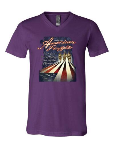 Proud to Be an American Firefighter V-Neck T-Shirt Volunteer Fireman FD Tee