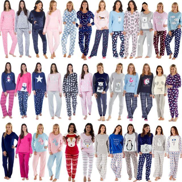 Ladies Fleece Hooded Winter Pyjama Set ~ Penguins /& Polar Bears