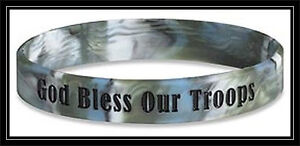 God-Bless-Our-Troops-BLUE-rubber-silicone-bracelet-wristband-ARMY-Navy-MARINES