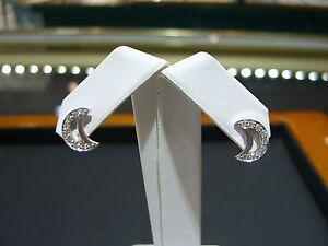 77011d9be FINE DIAMOND HALF MOON STUD EARRINGS 0.20 CARAT 14 KARAT WHITE GOLD ...