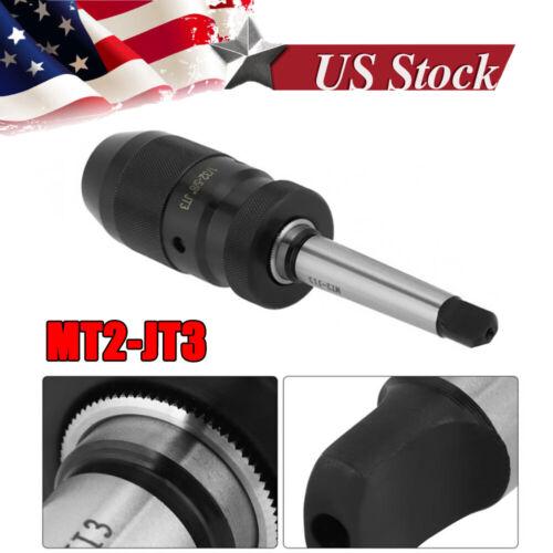 1-16mm Steel Self Tighten Keyless Lathe Drill Chuck MT2-JT3 Taper Arbor NEW
