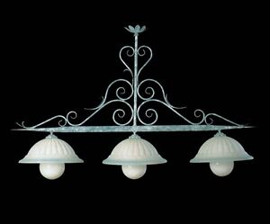Lampadari In Ferro Battuto Bianco : Bilanciere lampadario in ferro battuto a 3 luci bga 419 celeste e