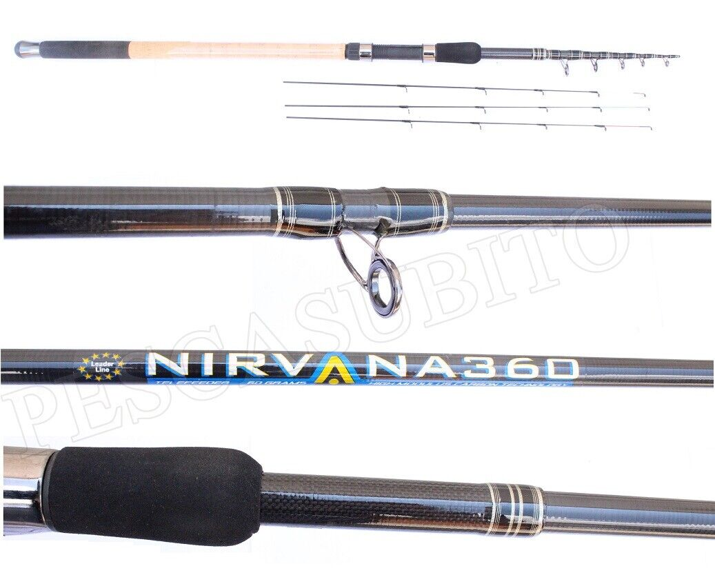 Canna Ledgering Feeder Telescopica  Nirvana 3.60Mt Max 60Gr Carbonio Mare Lago
