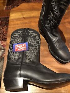 a875271169b Tony Lama Men's Black Stallion Americana Western Leather SIZE 10D ...
