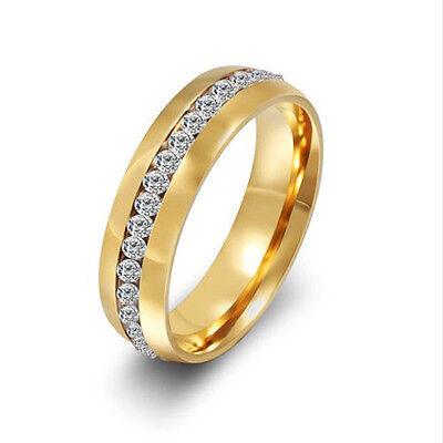 Sz4-15 CZ Couple Stainless Steel Wedding Ring Men/Women Titanium Engagement b