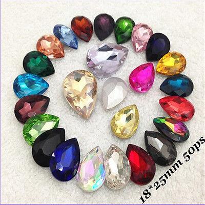 18x25mm Teardrop Glitter Rhinestones Crystal Glass Pear Strass Chatons 50ps U1